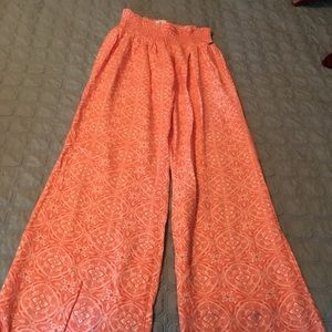 Orange print wide leg pants